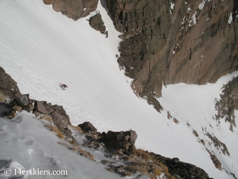 Climbing the Loft to ski on Longs Peak.
