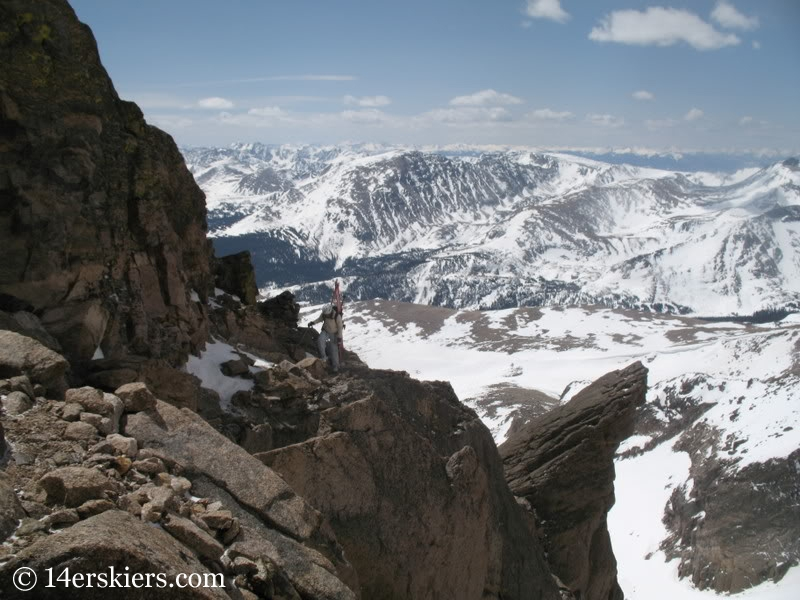Climbing Longs Peak to ski Keplinger's Couloir.