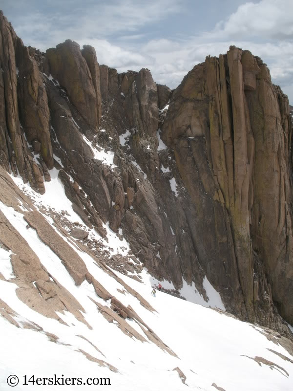 Skiing Keplinger's Couloir on Longs Peak.