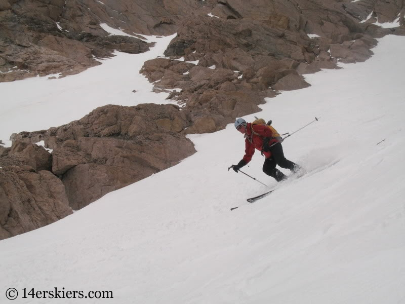 Pam Rice backcountry skiing Keplinger's Couloir on Longs Peak.