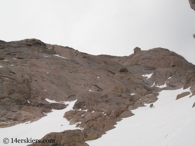 Brittany Walker Konsella backcountry skiing Keplinger's Couloir on Longs Peak.