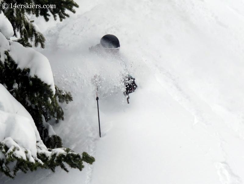 Susan Mol backcountry skiing at Mayflower Gulch.