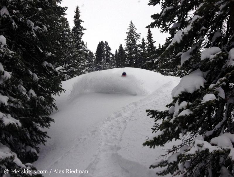Brittany Konsella backcountry skiing at Mayflower Gulch.