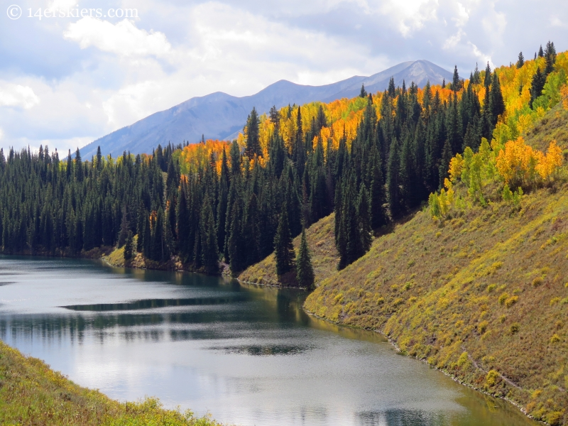 Meridian Lake (also called Long Lake), with fabulous fall colors and  Whetstone towering behind.