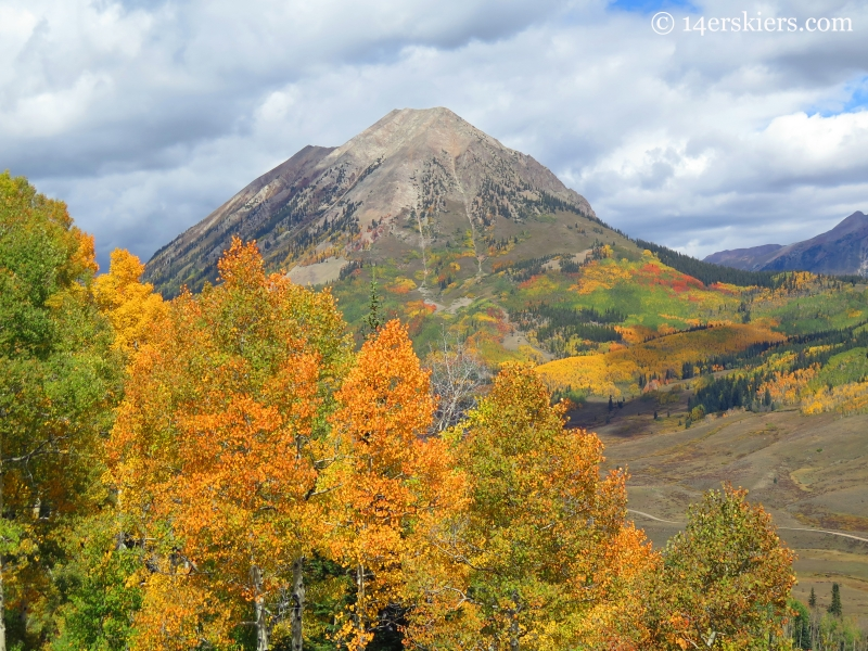 Gothic Mountain with fall colors seen from Meridian Lake Hike