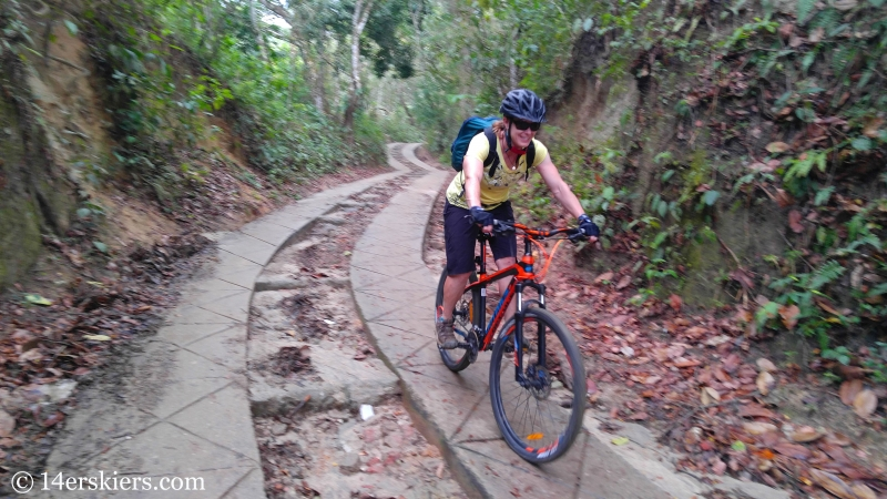 Mountain biking near Minca, Colombia.