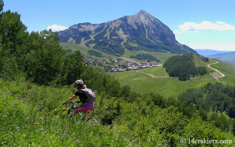 Brittany Konsell mountain biking Snodgrass trail in Crested Butte, CO.