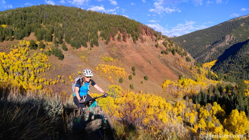 Brittany Konsella mountain biking the Caves Trail near Crested Butte.