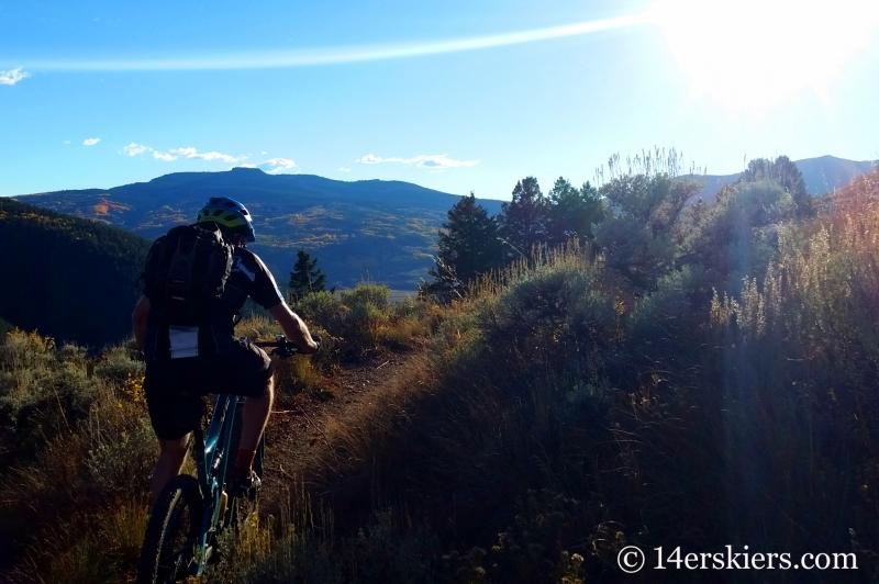 Frank Konsella mountain biking Caves Trail near Crested Butte.