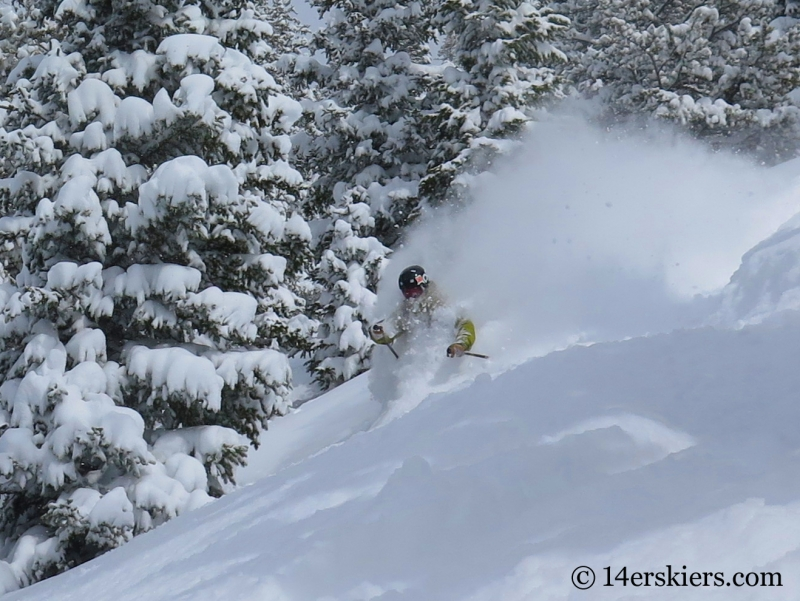 Eliot Rosenberg skiing powder in the Monarch Pass backcountry.