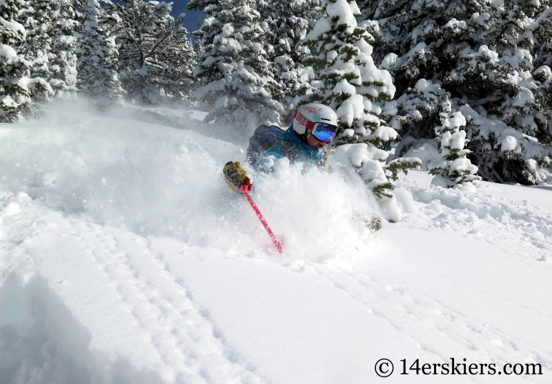 Alex Riedman skiing powder in Monarch Pass backcountry.