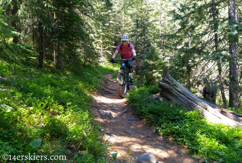 Brittany Konsella mountain biking Greens Creek Trail near Monarch Pass.