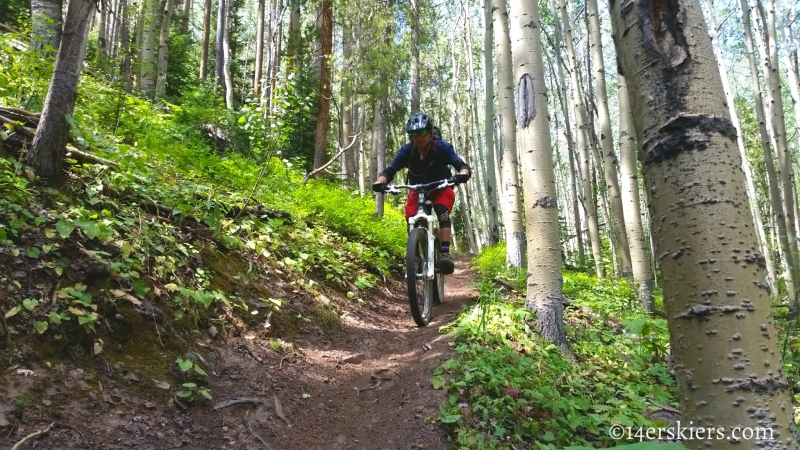 Larry Fontaine mountain biking Starvation Creek Trail near Monarch Pass.