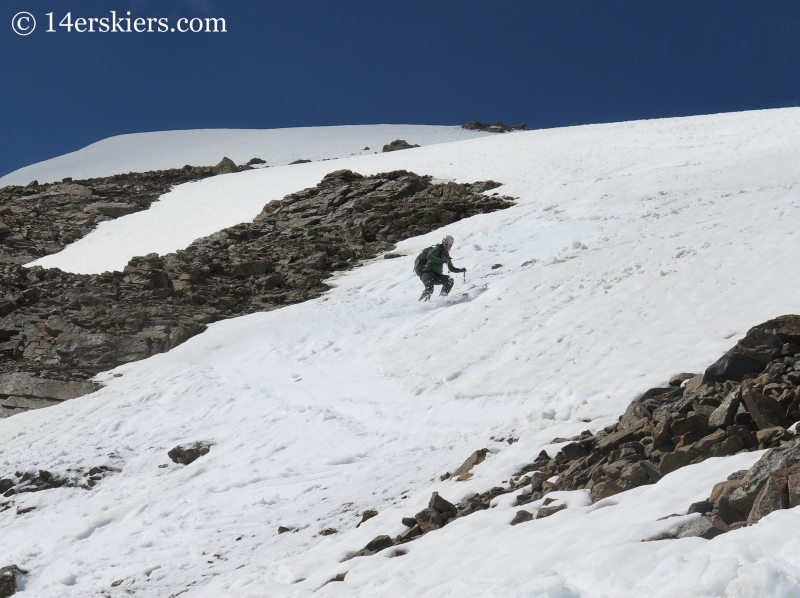 Natalia Moran backcountry skiing on Mount Champion.