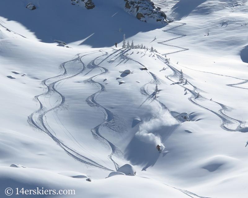 Nate backcoutnry skiing Mount Shimer near Aspen.