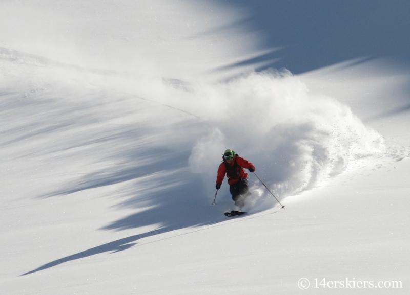 Jordan White backcountry skiing Mount Shimer near Aspen.