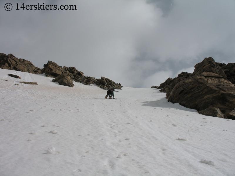 Joen Turner climbing Mount Massive.