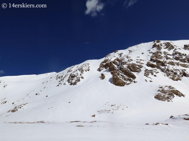 Backcountry skiing on Mount Eva.