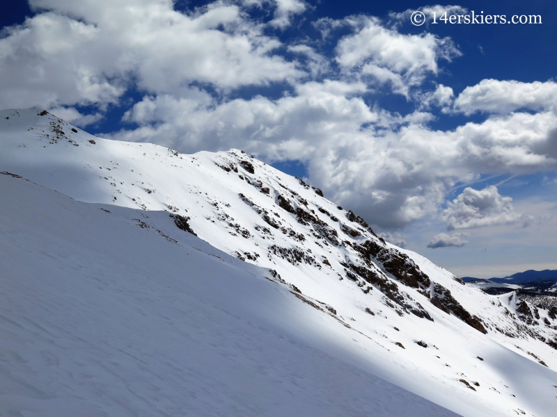 Backcountry skiing on Mount Eva south slopes.