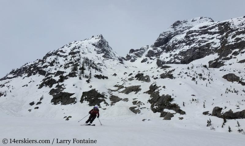 Backcountry skiing Mt. Moran Skillet