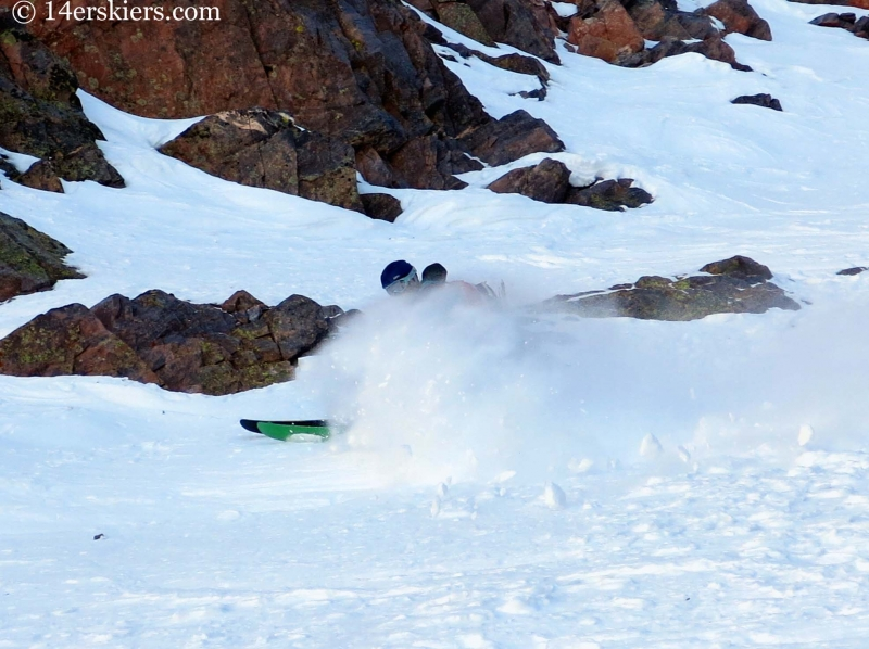 Brittany Konsella skiing Naked Lady couloir in the San Juans.