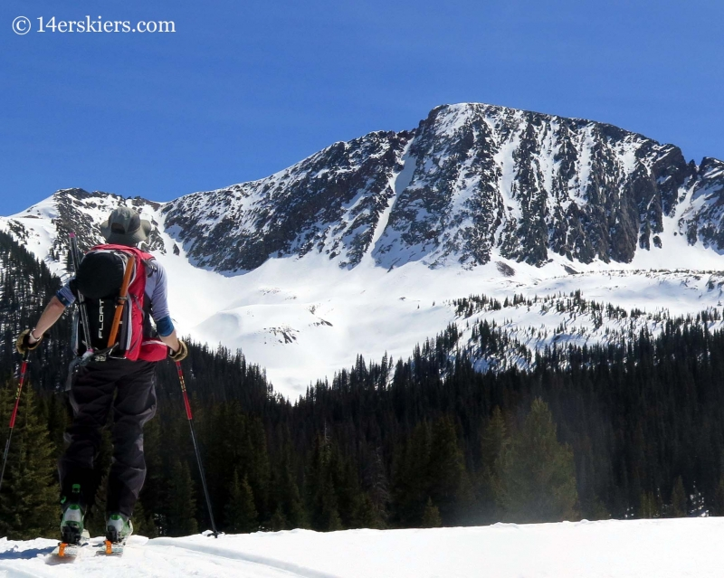 Frank Konsella with Naked Lady couloir in the distance.