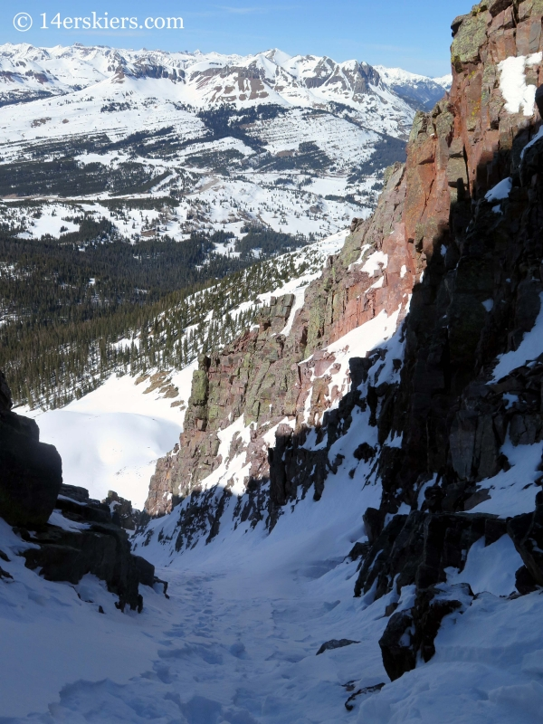Skiing Naked Lady couloir in the San Juans.