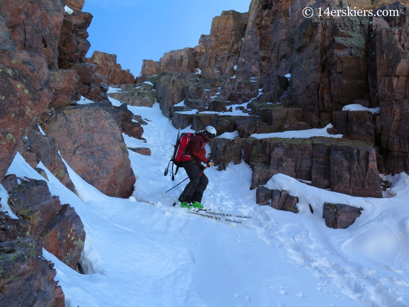 Backcountry skiing Naked Lady couloir near Silverton, CO.