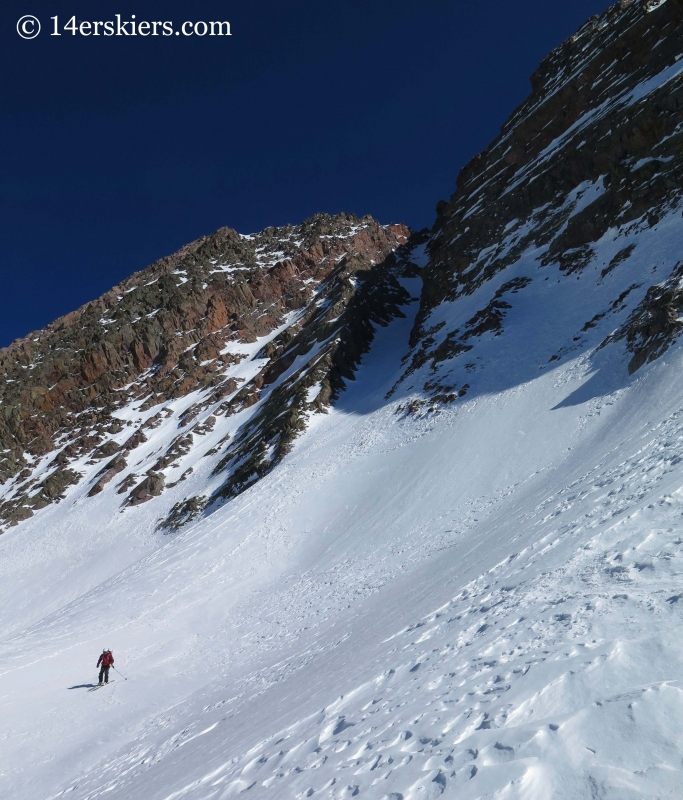 Frank Konsella skiing out of Naked Lady in the San Juans.
