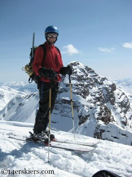 Joe Brannan on summit of North Maroon, ready to ski.