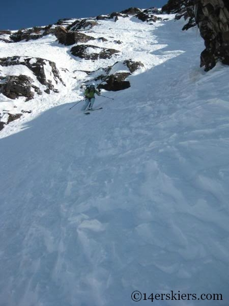 Brittany Walker Konsella backcountry skiing on North Maroon