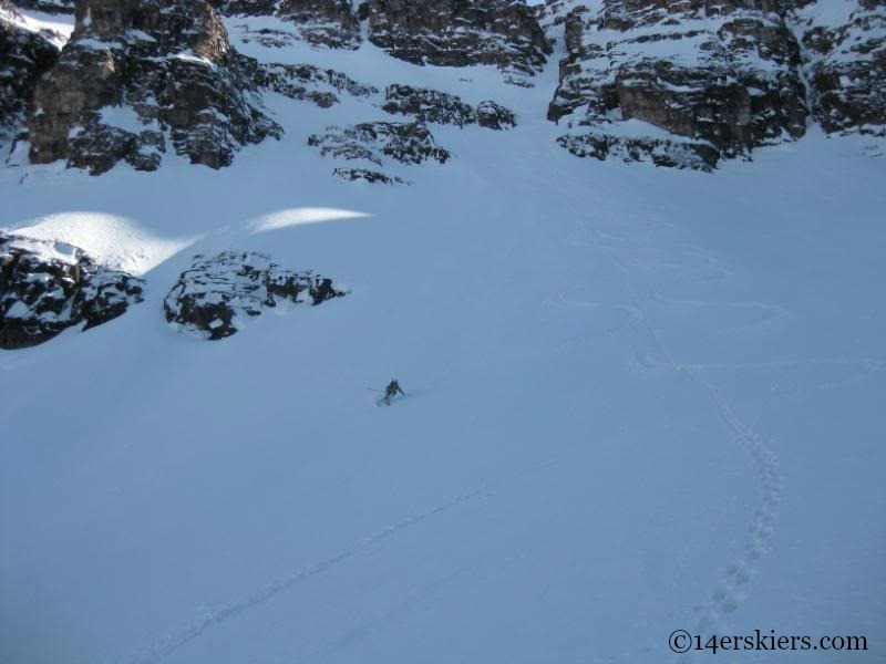 Brittany Walker Konsella backcountry skiing on North Maroon.