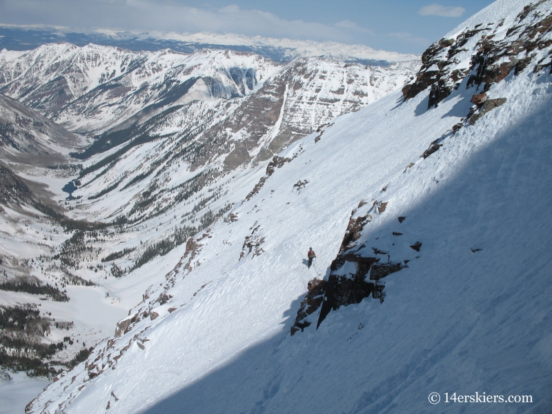 Backcountry skiing on North Maroon.
