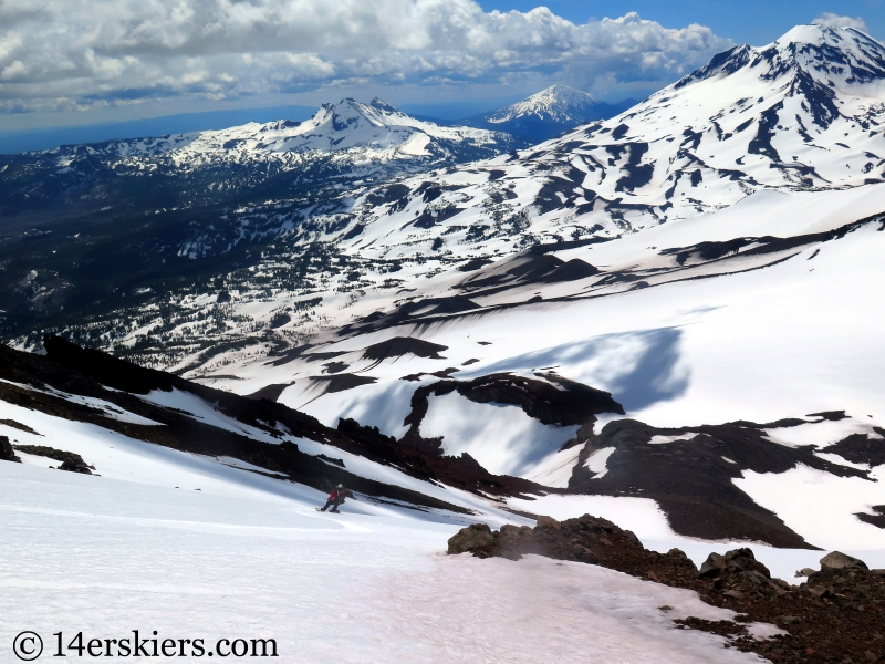 Backcountry skiing North and Middle Sisters in Oregon.