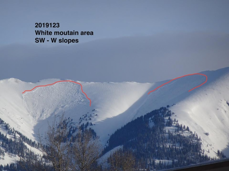 Large slides on southerly exposures near Crested Butte ski area.  This ridge is known as