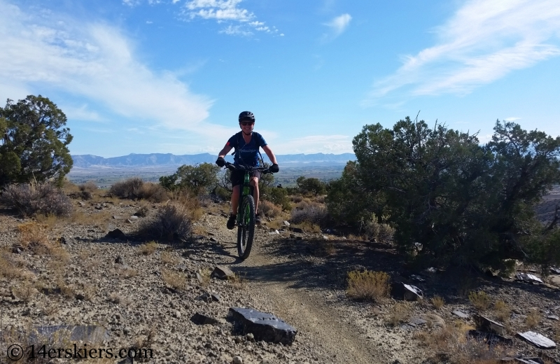 Gina mountain biking Mack Ridge trail in Fruita.