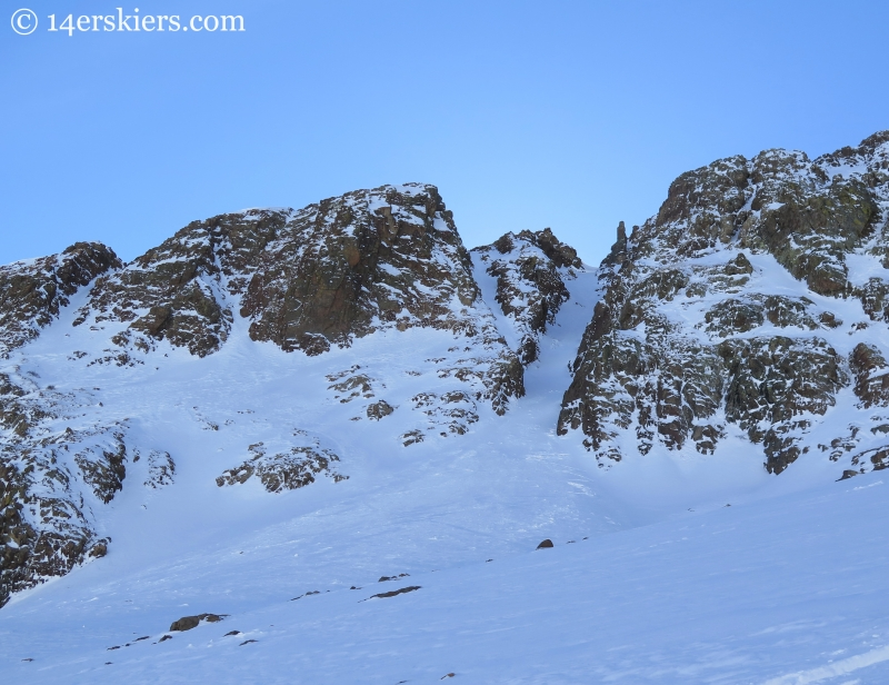 Jenga chute, skiing backcountry in Crested Butte