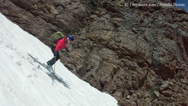 Brittany Konsella backcountry skiing on Mount Oklahoma.