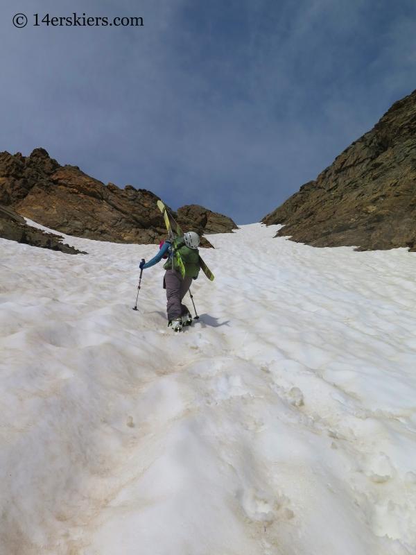 Natalia Moran climbing Oklahoma go to backcountry skiing.