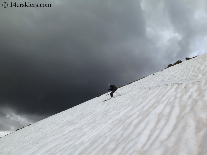 Natalia Moran backcountry skiing on Mount Oklahoma.