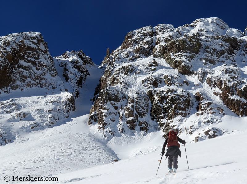 Jenny Veilleux skinning to to backcountry skiing in Crested Butte.