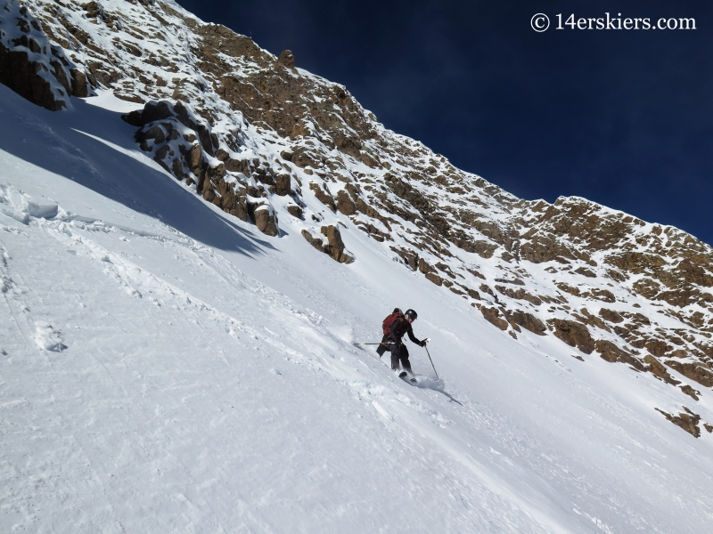 Jenny Veilleux backcountry skiing on Halloween in Crested Butte.