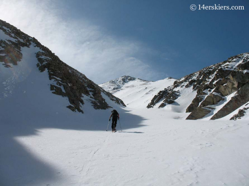 Skinning up Mount Belford to go backcountry skiing.