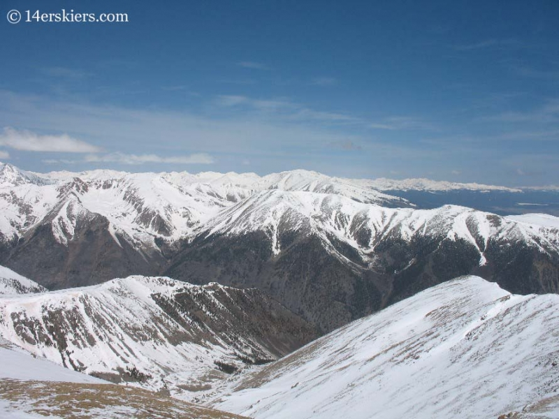 Looking toward Mt. Elbert and Mt. Massive from the summit of Mt. Belford.