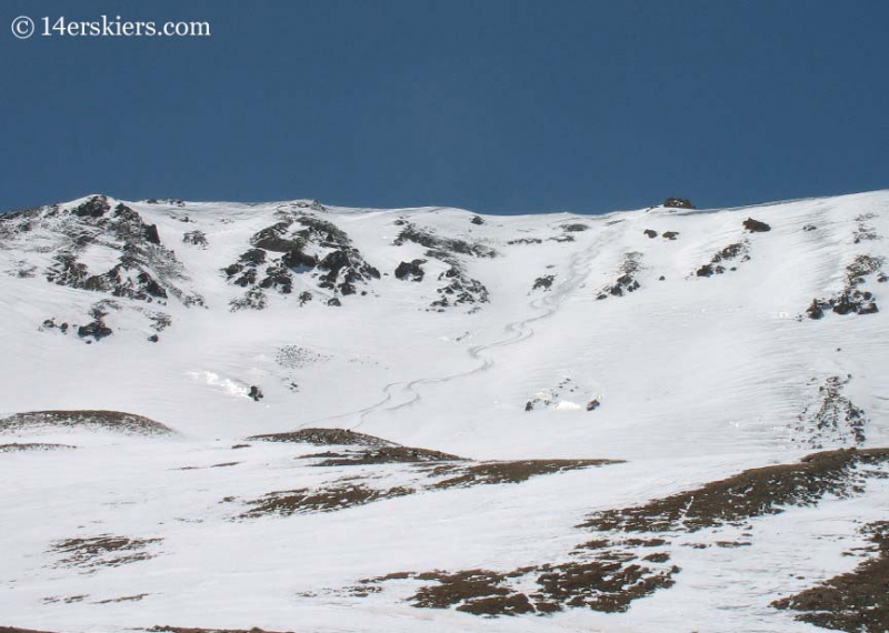 Backcountry skiing tracks on Mount Belford