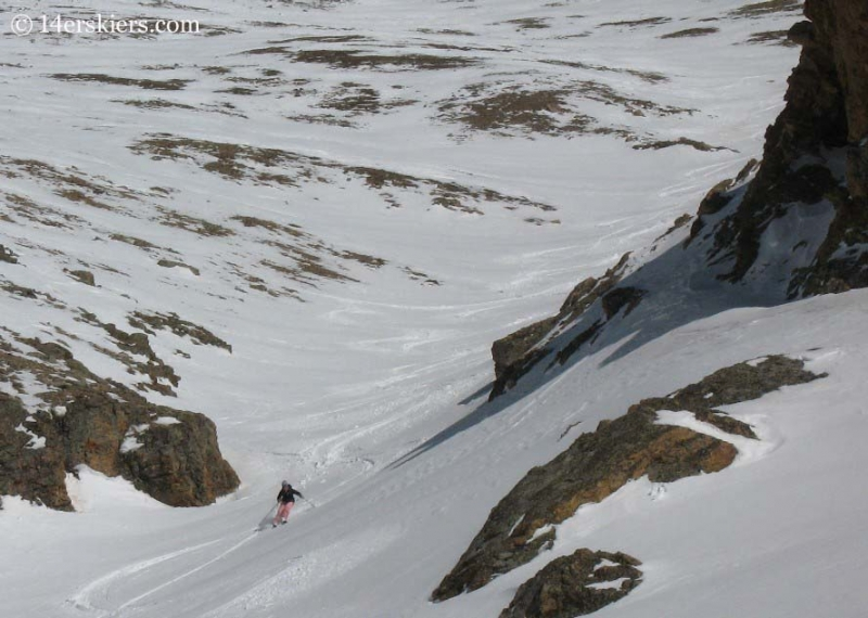Brittany Konsella backcountry skiing on Mount Belford.