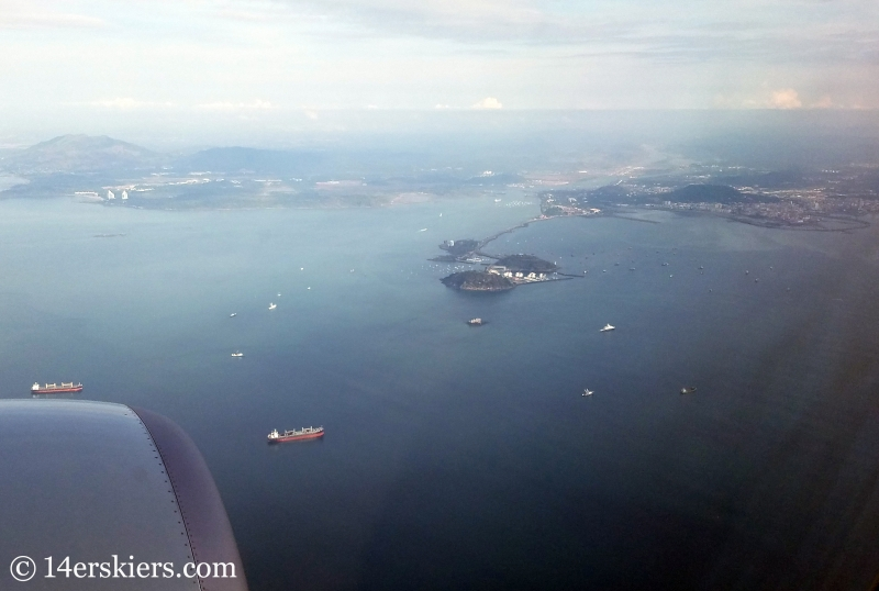 The entrance of the Panama Canal and the Causeway as seen from an airplane approaching Panama City.
