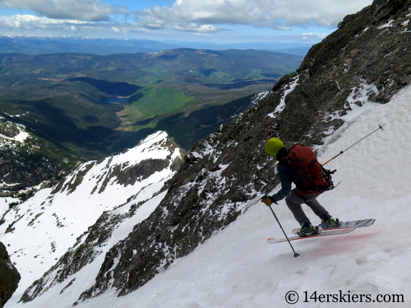 Larry Fontaine backcountry skiing CC Rider Couloir on Peak C.