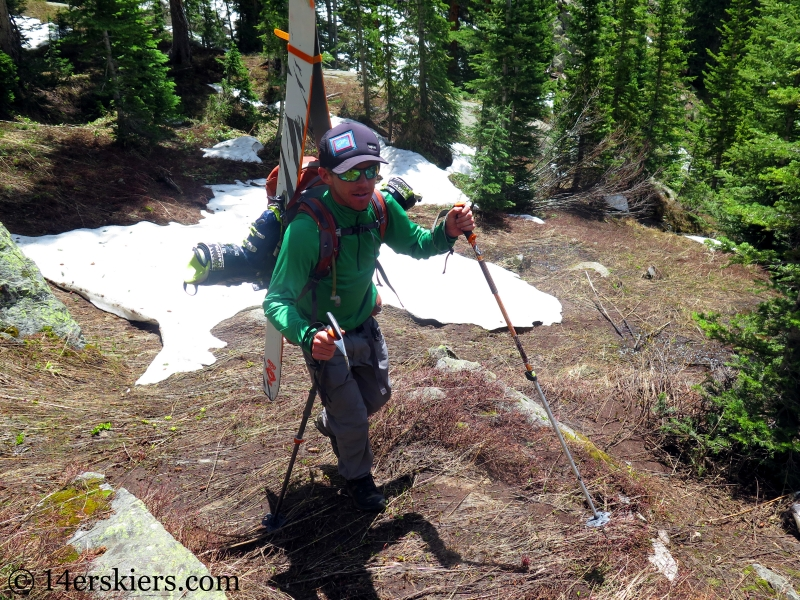 Larry Fontaine hiking for backcountry skiing on Peak C.