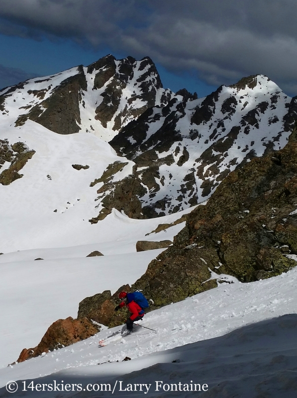 Brittany Walker Konsella backcountry skiing on Peak C.